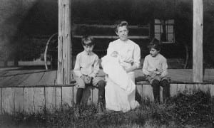 Catherine Petty with her three sons (Clarence is on right).
