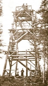 Thirty-five foot log fire tower on Black Mountain erected in 1911.