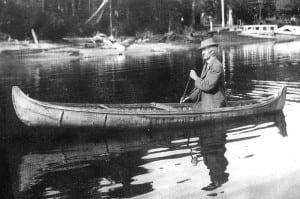 Paddler believed to be J. Henry Rushton, renowned canoe builder.