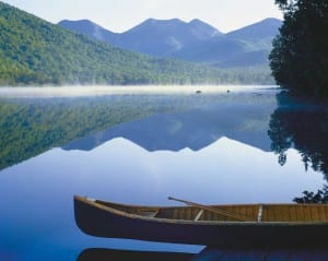 Upper Ausable Lake with Canoe