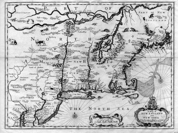 A map of New England and New York, 1672. Note that Lake Champlain appears east of the Connecticut River.