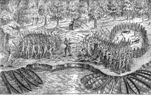 In 1609, Samuel de Champlain encountered the Iroquois for the first time when he and his Algonquin allies fought a Mohawk band near Crown Point.