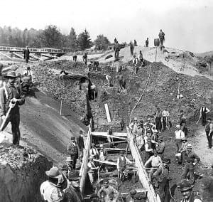 Repair crews work on the Forestport canal, circa 1899.
