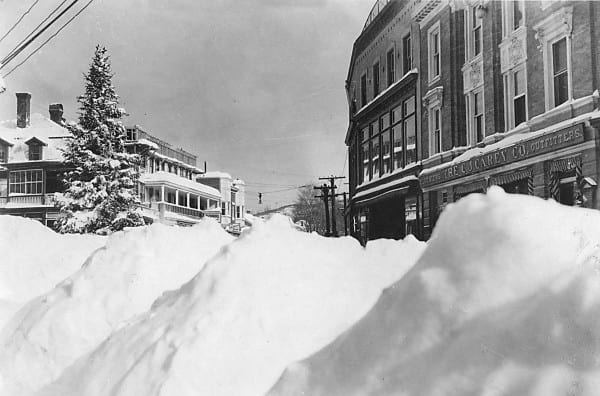 Main Street in Saranac Lake after a blizzard in January 1925.