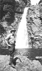 Howard Zahniser at Hanging Spear Falls in 1946.