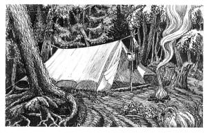 Gerster's portrayal of his tent, which weighed just 4 pounds, 9 ounces.