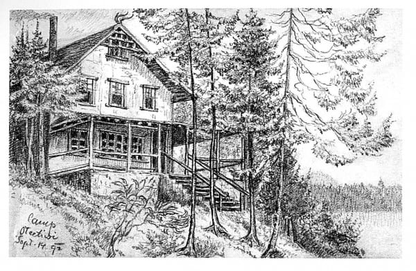 Gerster's drawing of his beloved Camp Oteetiwi, on Big Island in Raquette Lake.