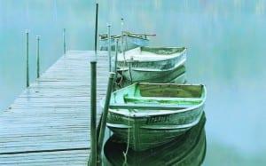 Rowboats on Thirteenth Lake.