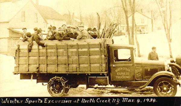 Skiers headed up Gore Mountain in Moses Ordway's delivery truck.