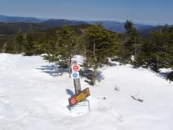 The last signpost on Marcy, still mostly buried in snow.