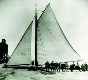 Early iceboats like this one from 1915 were used for transportation as well as for fun.