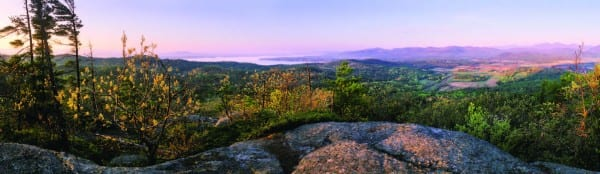 A panoramic view of the Adirondacks, looking east to the farms north of Westport and Lake Champlain.
