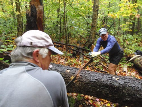 Tony Goodwin, left, and Frank Krueger team up on the crosscut saw. Photo by Phil Brown.