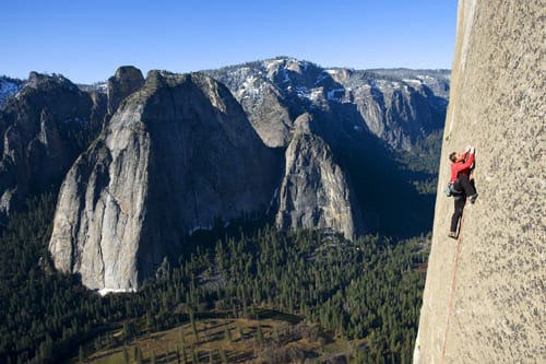 Tommy Caldwell tries a new route on El Capitan. Photo by Corey Rich/Courtesy of Reel Rock Film Tour.