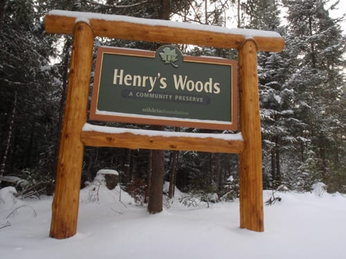 The entrance to Henry's Woods off Bear Cub Road near Lake Placid.