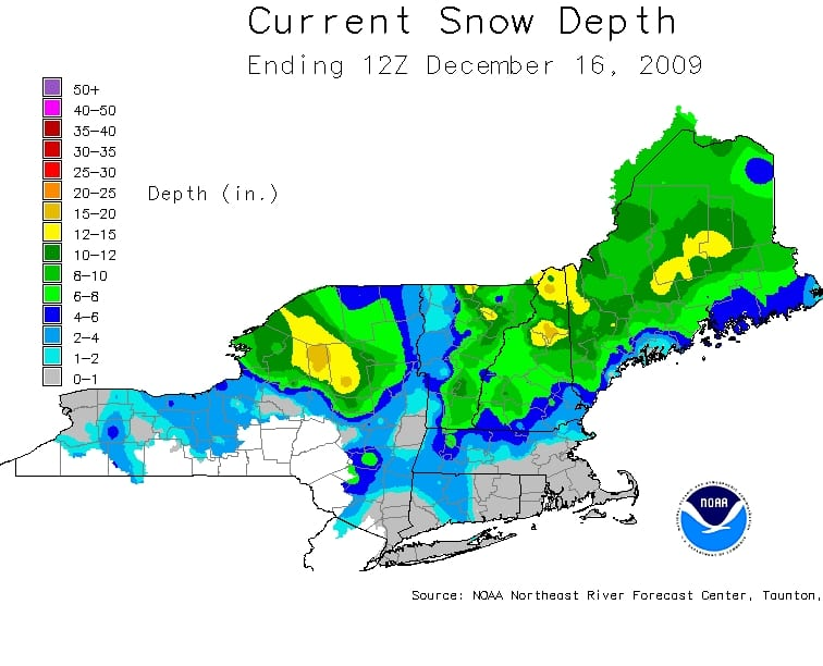 Snow depths for Wednesday, December 16. Courtesy of NOAA.