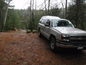 A truck parked at the Crane Pond Road, nearly two miles inside the Pharaoh Lake Wilderness. Photo by Phil Brown.