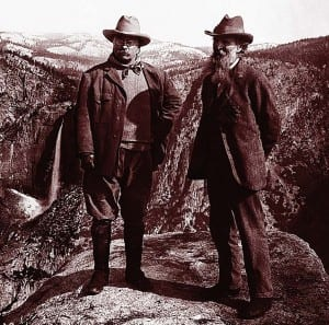 Teddy Roosevelt and John Muir in Yosemite National Park. Courtesy of Harper Collins
