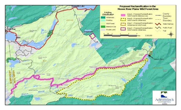 Map of proposed land-classification changes in Moose River Plains.