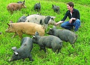 Kimball and her husband raise and slaughter their own hogs.