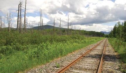 The tracks outside the village of Saranac Lake. Photo by Susan Bibeau.