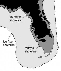 The map shows Florida's shoreline as it was during the last ice age, as it is today, and as it might be in the future.