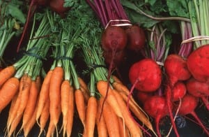 Locally grown carrots and beets.