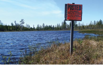 The DEC asked the landowners to remove no-trespassing signs on Mud Pond (above) and Shingle Shanty Brook. Photo by Phil Brown