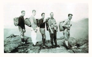 Members of Ed Hudowalski's Sunday school class climbed Mount Marcy in 1932. Left to right are Bill Lance, Orville Gowie, Harry May, Jack Colby, and Charlie Horn on the summit. Photos courtesy of the Adirondack Forty-Sixers