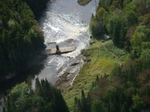 Waters flow into the Cold River at the broken dam. Photo by NYSDEC.