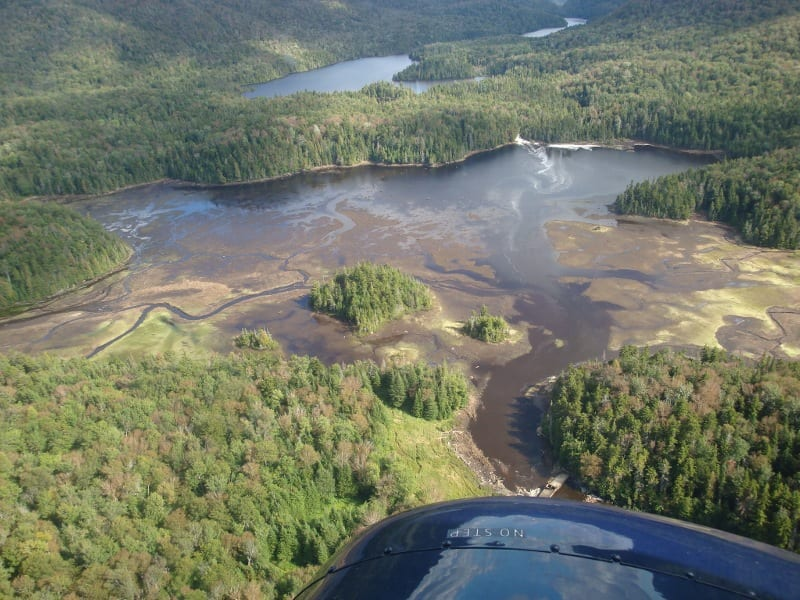 With water recedes, mudflats are starting to appear in Duck Hole. Photo by NYSDEC.