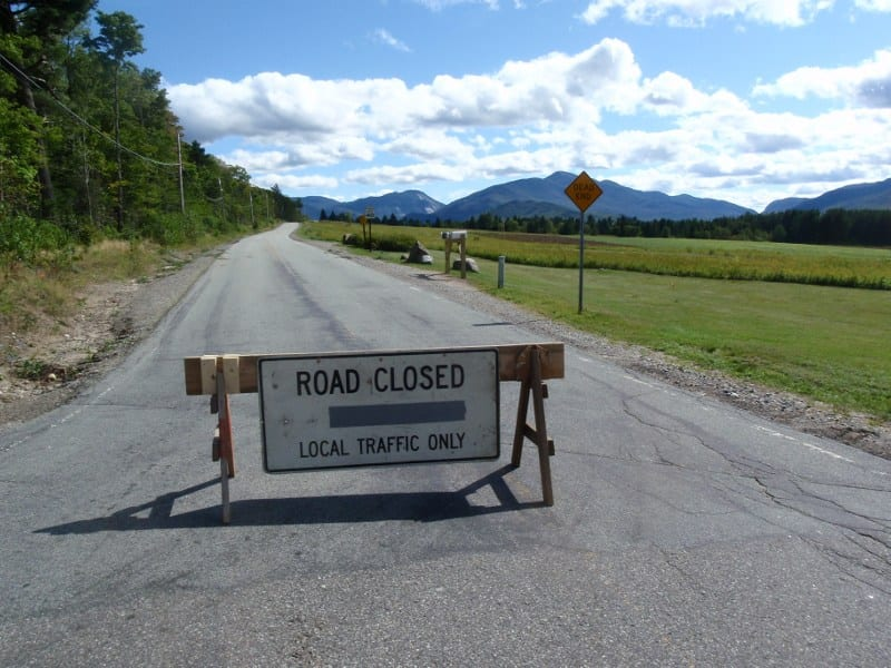 Adirondak Loj Road is closed to the public. Photo by Phil Brown.
