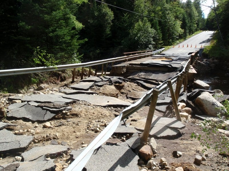 A section of Adirondak Loj Road collapsed near the West Branch of the Ausable. Photo by Phil Brown.