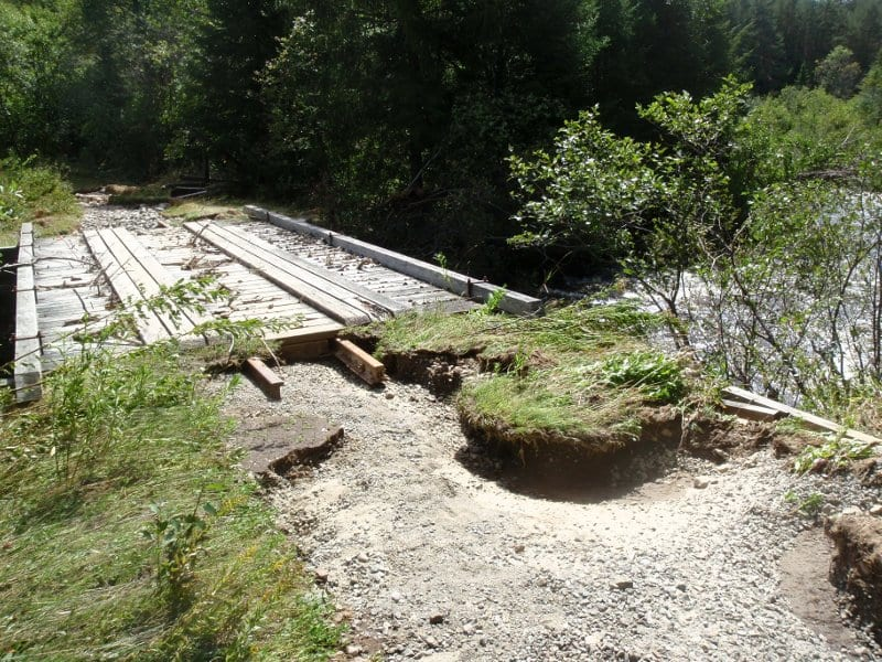 Erosion on the Marcy Dam Truck Trail near South Meadow Brook. Photo by Phil Brown.