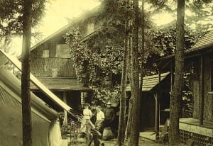 Camp Oteetiwi on Raquette Lake circa 1900.