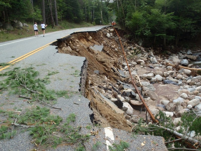 Roaring Brook gouged out this section of highway. Photo of Phil Brown.