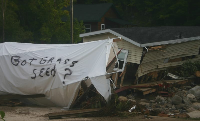 A mobile home destroyed in Keene. Photo by Tom Woodman.