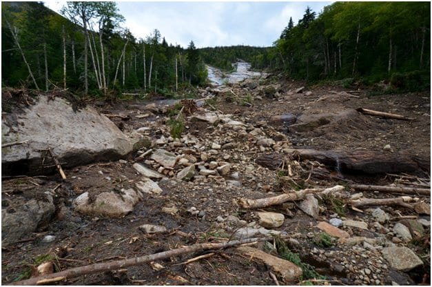 A landslide buried a section of the Orebed Brook Trail. Photo by Brendan Wiltse.