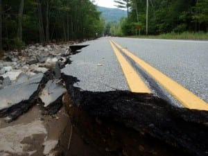 Damaged section of Route 73 near St. Huberts. Photo by Phil Brown.