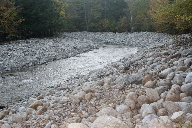 Johns Brook in Keene after crews rechanneled it. Photo from Adirondack Wild.