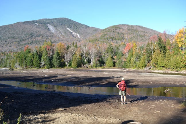 Since Irene, most of the pond behind Marcy Dam has drained. Photo by Josh Wilson.