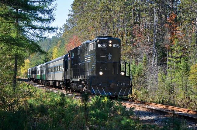 The Adirondack Scenic Railroad's train on is way to Saranac Lake. Photo by Susan Bibeau.
