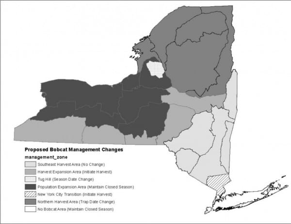 Map shows proposed changes in regulations for hunting and trapping bobcats. NYSDEC.