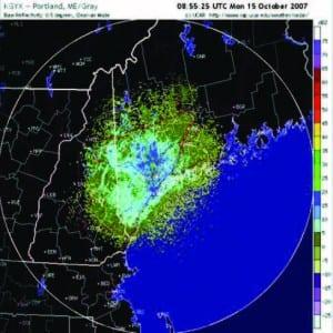 Radar tracks the movement of birds over Maine.