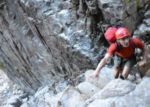 Ron Konowitz climbs the Trap Dike