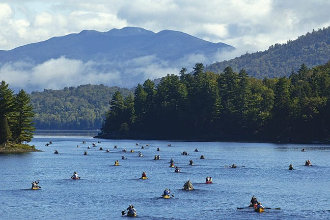 There are boats as far as the eye can see on Lower Saranac Lake during the Ninety-Miler. Photo by Nancy Battaglia.