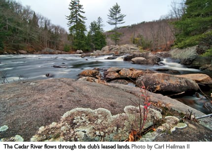The Cedar River flows through lands leased by the Gooley Club. Photo by Carl Heilman II.