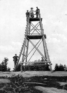 A wooden tower stood atop Blue Mountain in the early 1900s.