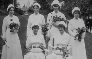 New nurses fresh out of D. Ogden Mills Training School pose for a graduation photo in 1917.