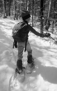 Photo by Carl Heilman A young snowshoer enjoys time on the trail.